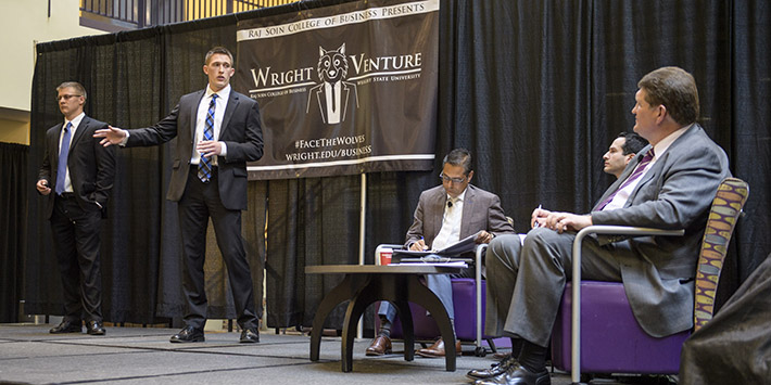 photo of students giving a presentation at the Wright Venture event