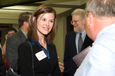 photo of a student at a networking event